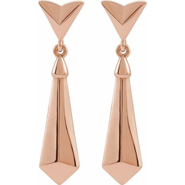 14K Rose Geometric Dangle Earrings