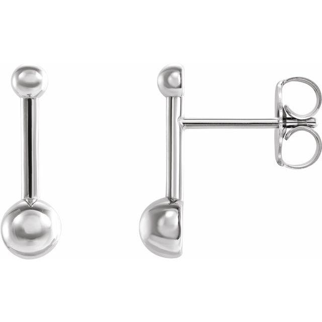 Sterling Silver Bar & Ball Earrings