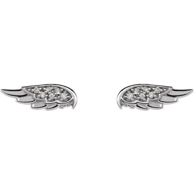 14K White .03 CTW Diamond Angel Wing Earrings