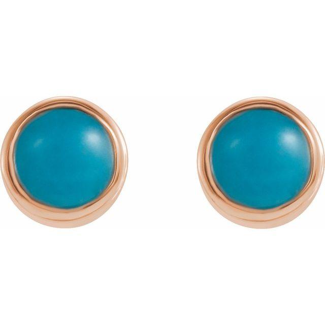 14K Rose Turquoise Bezel-Set Earrings