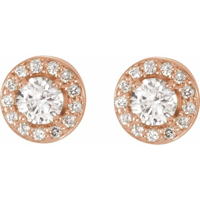 14K Rose 7/8 CTW Diamond Halo-Style Earrings