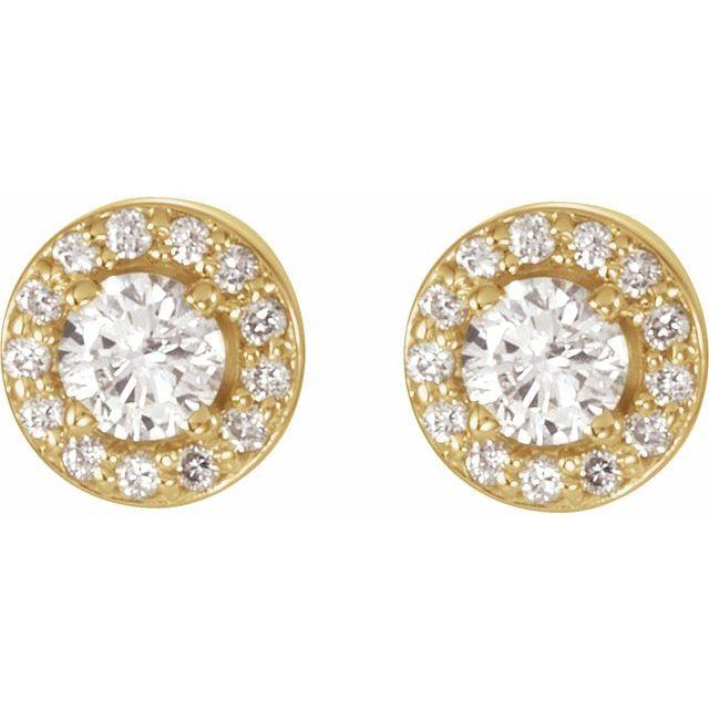 14K Yellow 5/8 CTW Diamond Halo-Style Earrings