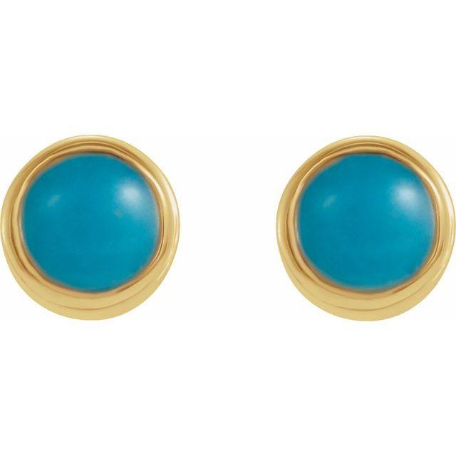 14K Yellow Turquoise Bezel-Set Earrings