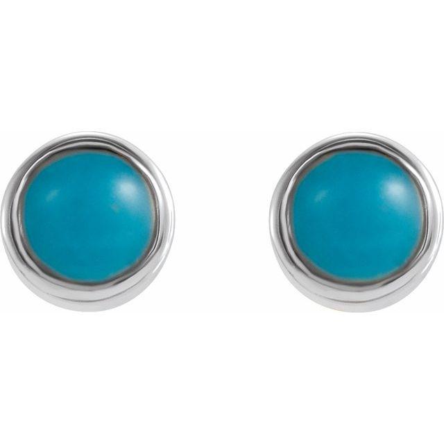 14K White Turquoise Bezel-Set Earrings