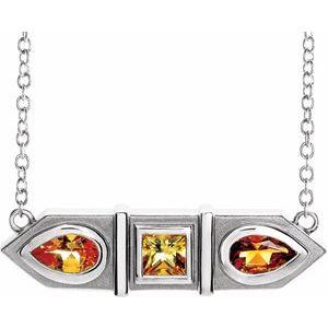 "Platinum Multi-Gemstone Geometric Bar 16"" Necklace"