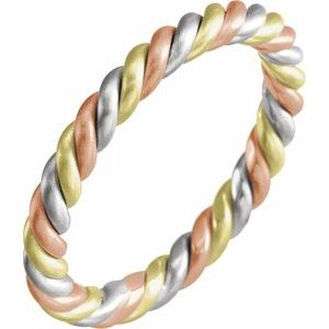 14K Tri-Color 2.5 mm Rope Band Size 6.5