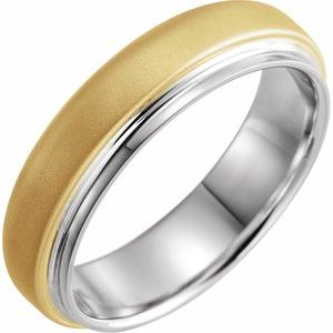 14K White & Yellow 6 mm Edged Band with Brushed Finished Size 10