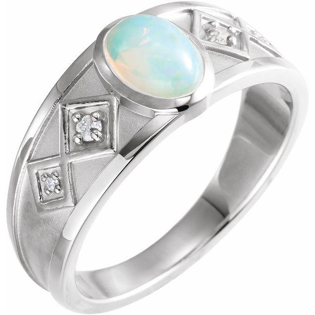 14K White Ethiopian Opal & .05 CTW Diamond Ring