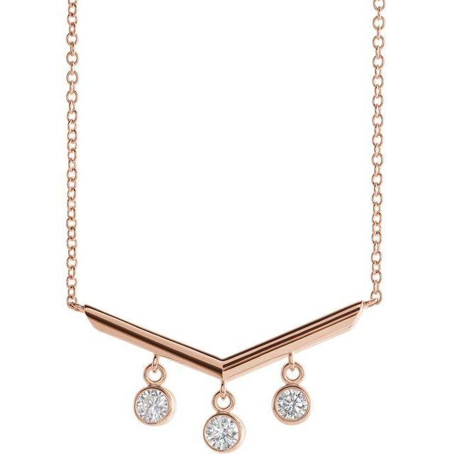 14K Rose 1/3 CTW Diamond V Bar 18