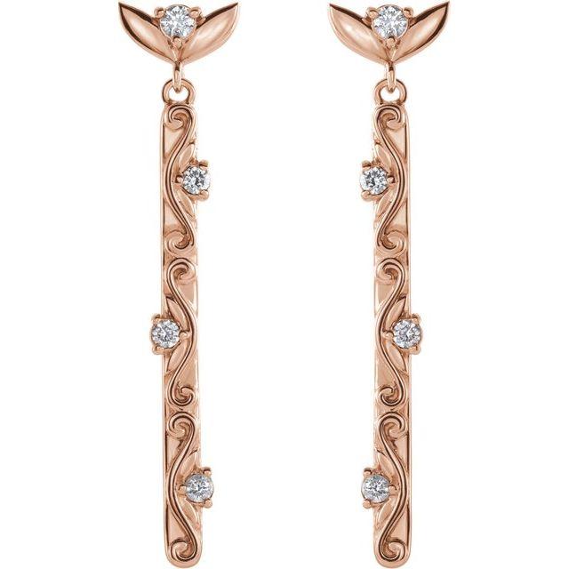 14K Rose 1/8 CTW Diamond Vintage-Inspired Dangle Earrings