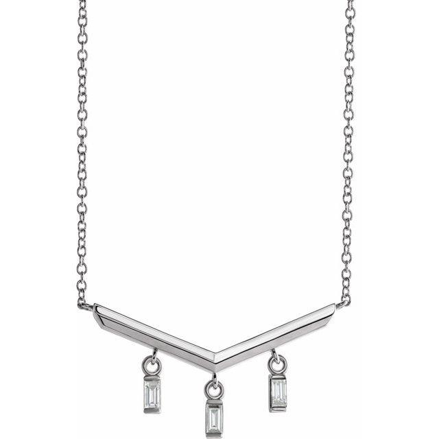 14K White 1/8 CTW Diamond V Bar 18