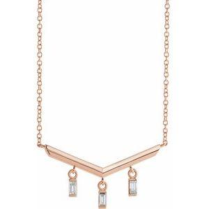 "14K Rose 1/8 CTW Diamond V Bar 18"" Necklace"