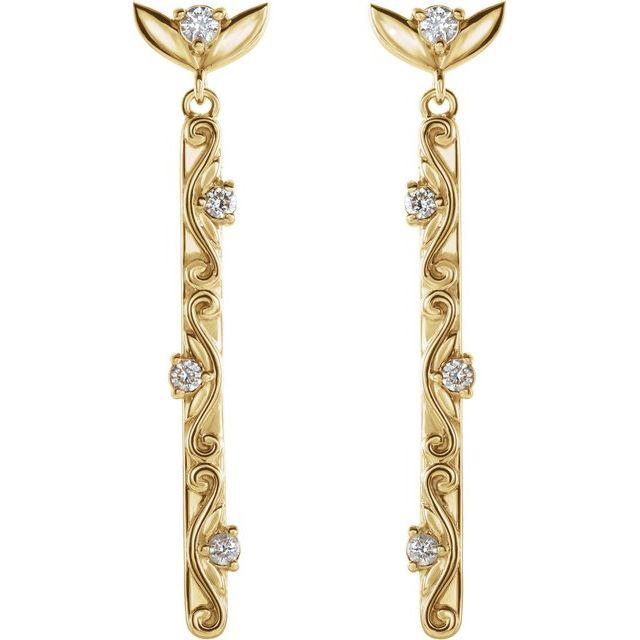 14K Yellow 1/8 CTW Diamond Vintage-Inspired Dangle Earrings