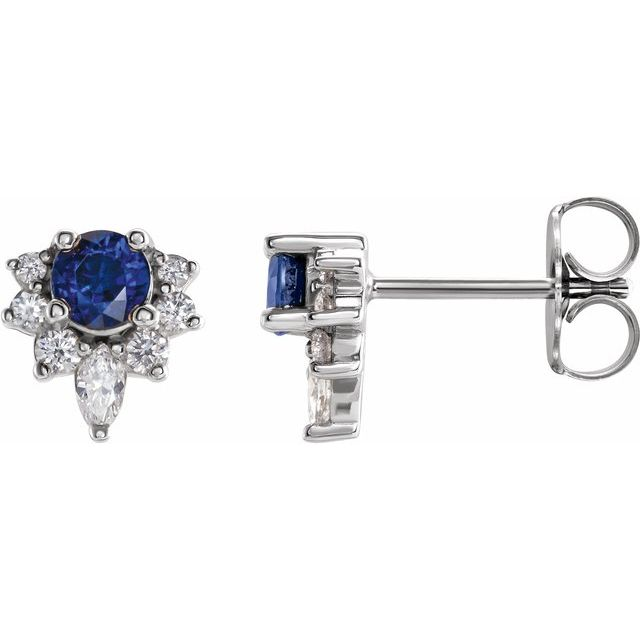 14K White Blue Sapphire & 1/6 CTW Diamond Earrings