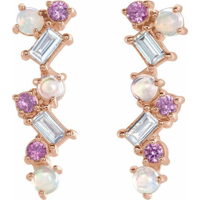 14K Rose Ethiopian Opal, Pink Sapphire & 1/10 CTW Diamond Scattered Bar Earrings
