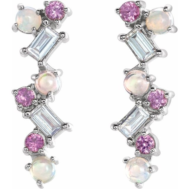 14K White Ethiopian Opal, Pink Sapphire & 1/10 CTW Diamond Scattered Bar Earrings