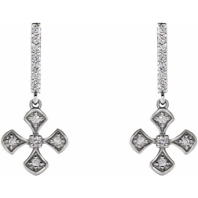14K White 1/5 CTW Diamond Cross Dangle Earrings