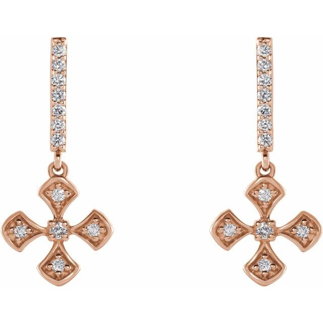 14K Rose 1/5 CTW Diamond Cross Dangle Earrings