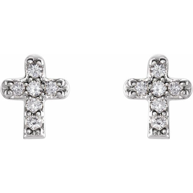 14K White .06 CTW Diamond Youth Cross Earrings