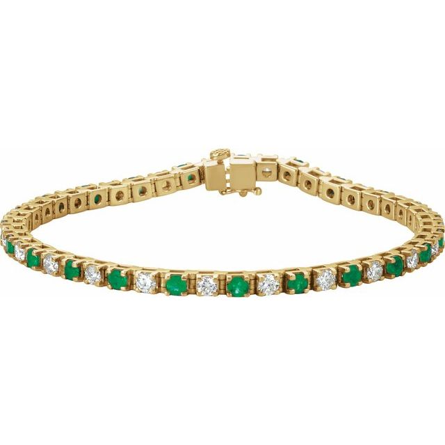 "14K Yellow Emerald & 2 1/3 CTW Diamond Line 7"" Bracelet"