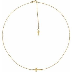 14K Yellow 1/10 CT Diamond Sideways Cross Necklace
