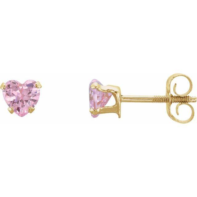 14K Yellow 4x3.5 mm Heart Pink Cubic Zirconia Youth Stud Earrings