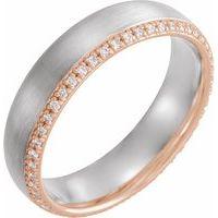 14K White & Rose 6 mm 1/5 CTW Diamond Band Size 7