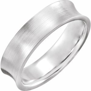 14K White 6 mm Concave Edge Band with Satin Finish Size 7.5