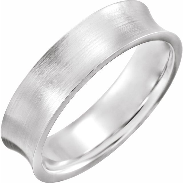14K White 6 mm Concave Edge Band with Satin Finish Size 8.5