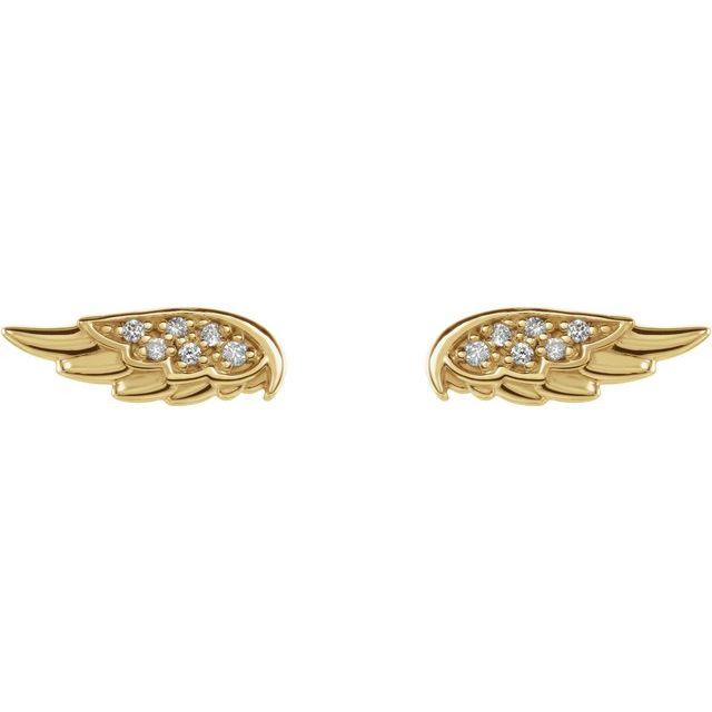 14K Yellow .03 CTW Diamond Angel Wing Earrings