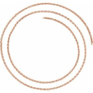 14K Rose 2 mm Diamond Cut Wheat Chain by the Inch