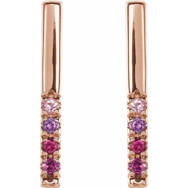 14K Rose Pink Multi-Gemstone French-Set Bar Earrings