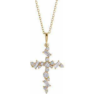 "14K Yellow 3/8 CTW Diamond Scattered Cross 16-18"" Necklace"