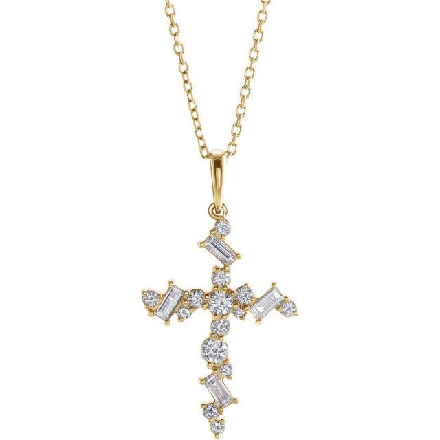 """14K Yellow 1/2 CTW Diamond Scattered Cross 16-18"""" Necklace"""