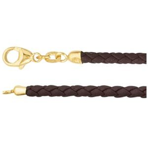 "Brown 3 mm Braided Leather 16"" Cord with 14K Yellow Lobster Clasp"