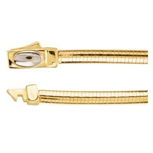 "14K Yellow/White 3 mm Two-Tone Reversible Omega 7"" Chain"