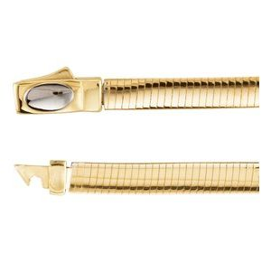 "14K Yellow/White 4 mm Two-Tone Reversible Omega 8"" Chain"