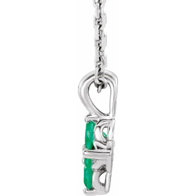 Sterling Silver Youth Emerald 16-18