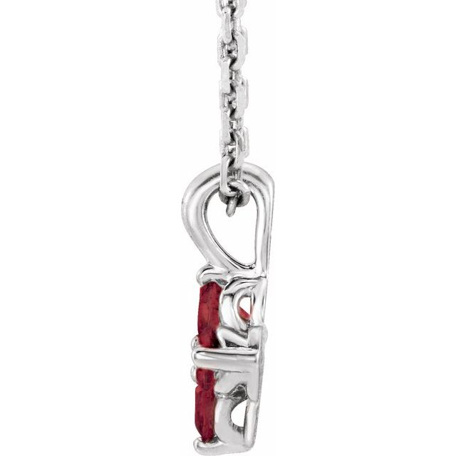 Sterling Silver Youth Imitation Ruby 16-18