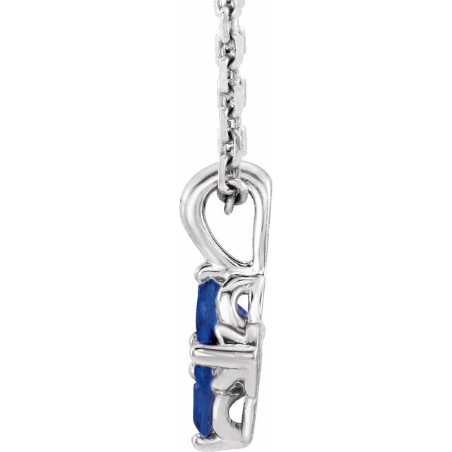 Sterling Silver Youth Imitation Blue Sapphire 16-18