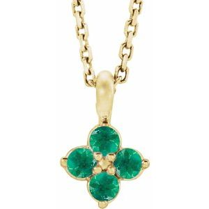 """14K Yellow Youth Emerald 16-18"""" Necklace"""