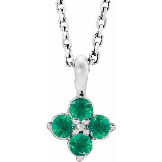 14K White Youth Emerald 16-18