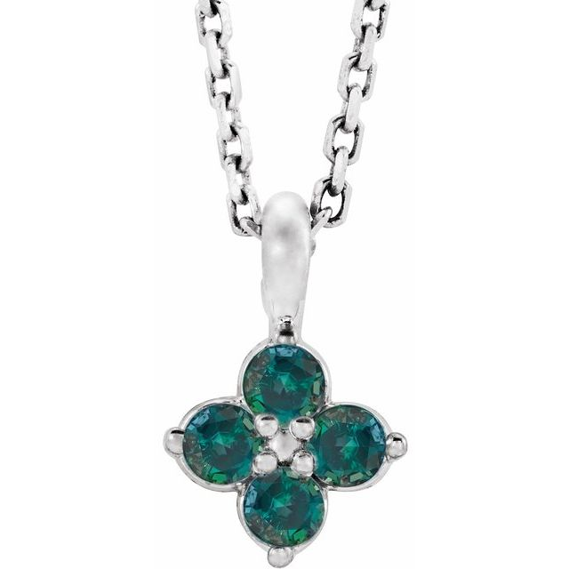 Sterling Silver Imitation Alexandrite Youth 16-18