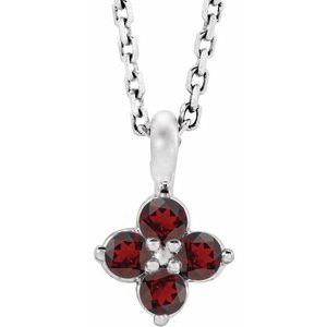 "Sterling Silver Youth Imitation Mozambique Garnet 16-18"" Necklace"