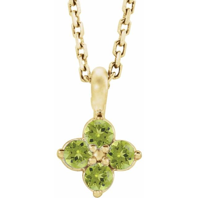 14K Yellow Youth Peridot 16-18