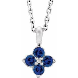 """Sterling Silver Youth Imitation Blue Sapphire 16-18"""" Necklace"""