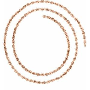 14K Rose 2.5 mm Diamond Cut Rope Chain Bulk by the Inch