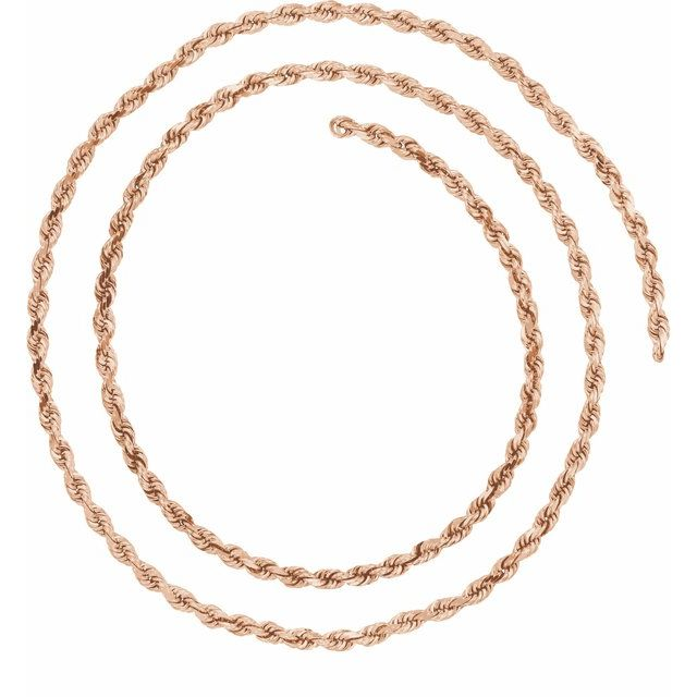 14K Rose 2.5 mm Diamond Cut Rope Chain Bulk by the Inch
