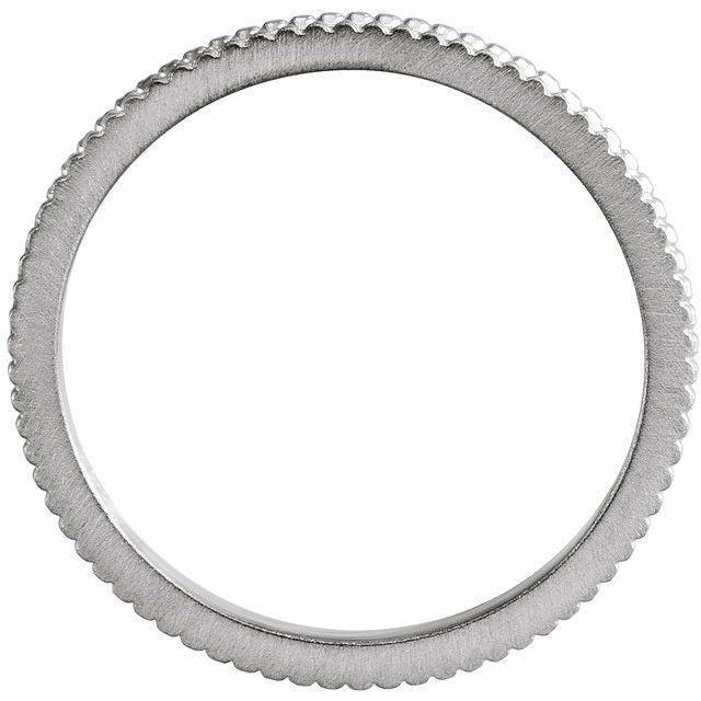 14K White 1.5mm Beaded Band Size 8