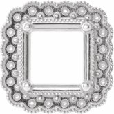Square 4-Prong Halo-Style Earring Setting